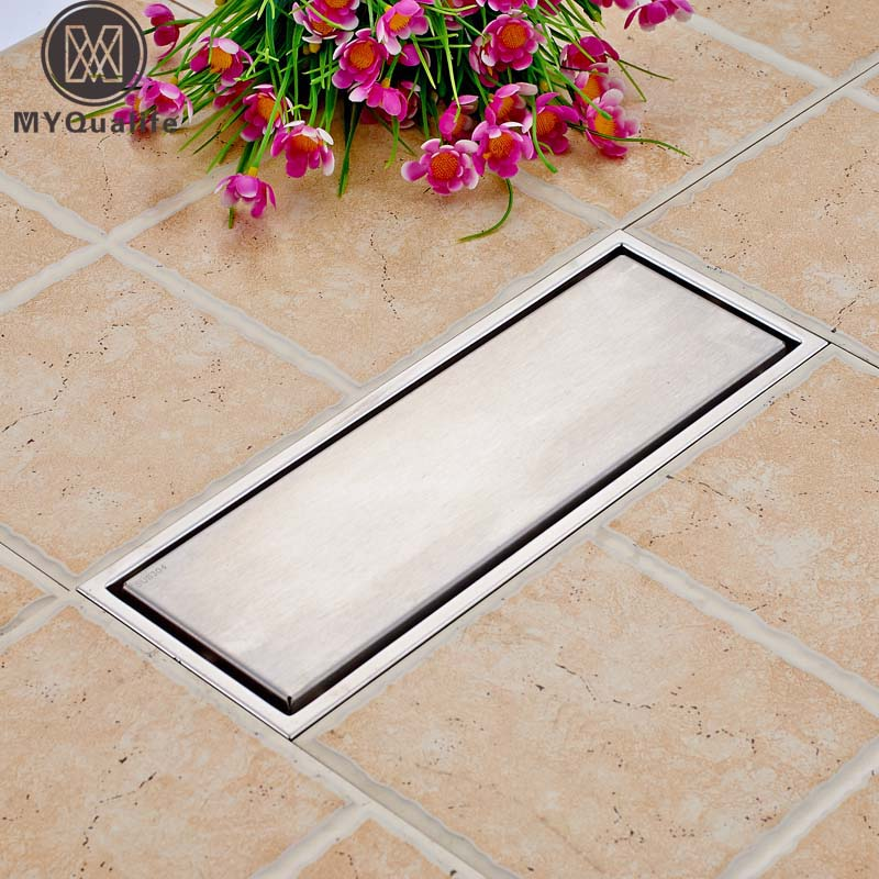 Tile Insert Square Floor Waste Grates Bathroom Shower Drain Stainless Steel 30cm*11cm square Shower Floor Drain hack
