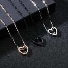 Женское Ожерелье с полым сердцем rinhoo простое черное/золотистое/серебристое
