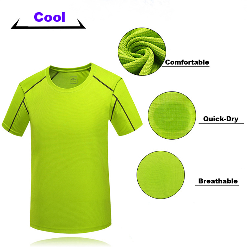 Hiking T-shirts Summer Short Sleeve Quick Dry Breathable Leisure Sport Cycling Running T-shirt Men Ciclismo Camping Hiking Outdoor T Shirt