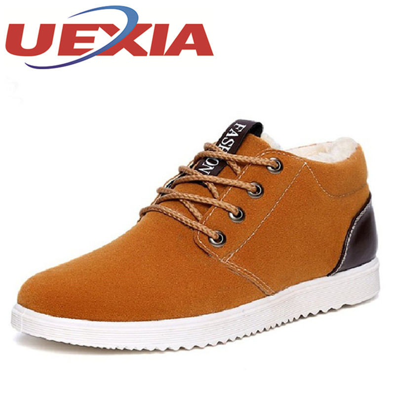 New Casual Mens Cheap Winter Shoes Keep Warm With Fur Outdoor Male Snow Shoes Plush Boots Fashion Men's Suede Leather Sneakers цена 2017