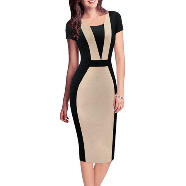 153622f05 Señoras Vestidos de Verano de manga corta de trabajo vestido de lápiz para  oficina SL0774