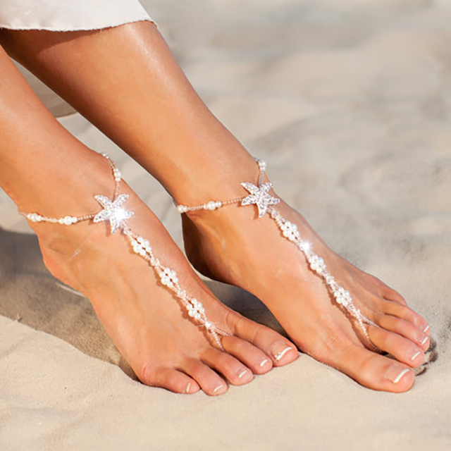 0558c5c77d97 SRCOI Sexy Ladies Starfish Anklet For Girls Boho Pearl Foot Jewelry Anklet  Beaded Chain Barefoot Sandals Bridal Wedding Jewelry