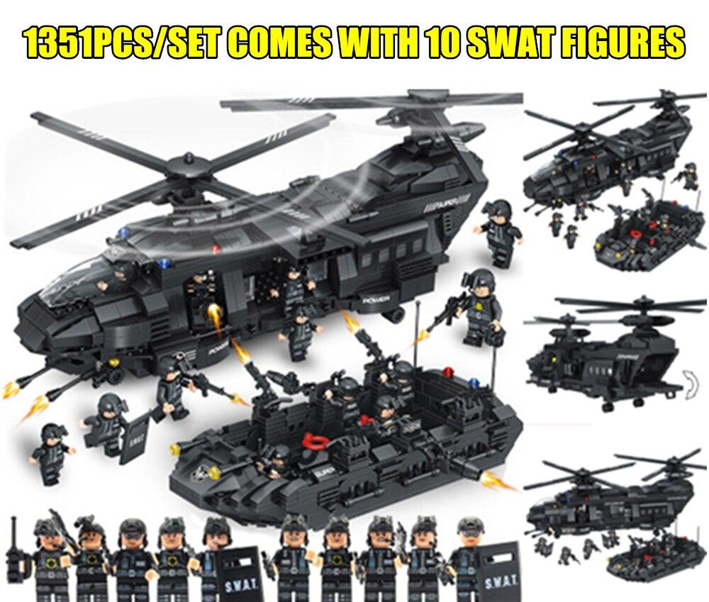 Новый 1351 шт. SWAT команда транспорта вертолет fit legoings SWAT военная Униформа город полиции цифры строительные Конструкторы Кирпичи Детские Подар...