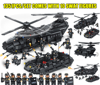 New 1351PCS SWAT Team Transport Helicopter fit legoings SWAT Military City Police figures Building Blocks bricks Kid Gift Toys