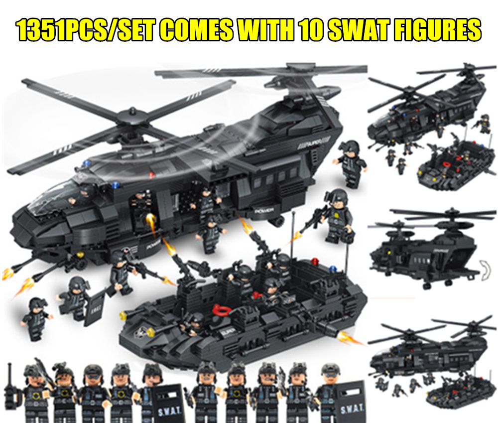 New 1351PCS SWAT Team Transport Helicopter fit legoings SWAT Military City Police figures Building Blocks bricks Kid Gift Toys new city police station fit legoings city police station swat figures building blocks bricks kids boys diy toys 60141 gift kid
