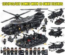 Nuevo 1351 piezas equipo SWAT helicóptero de transporte para legoings SWAT militar de la ciudad de cifras de la policía de bloques de construcción ladrillos chico regalo de Juguetes