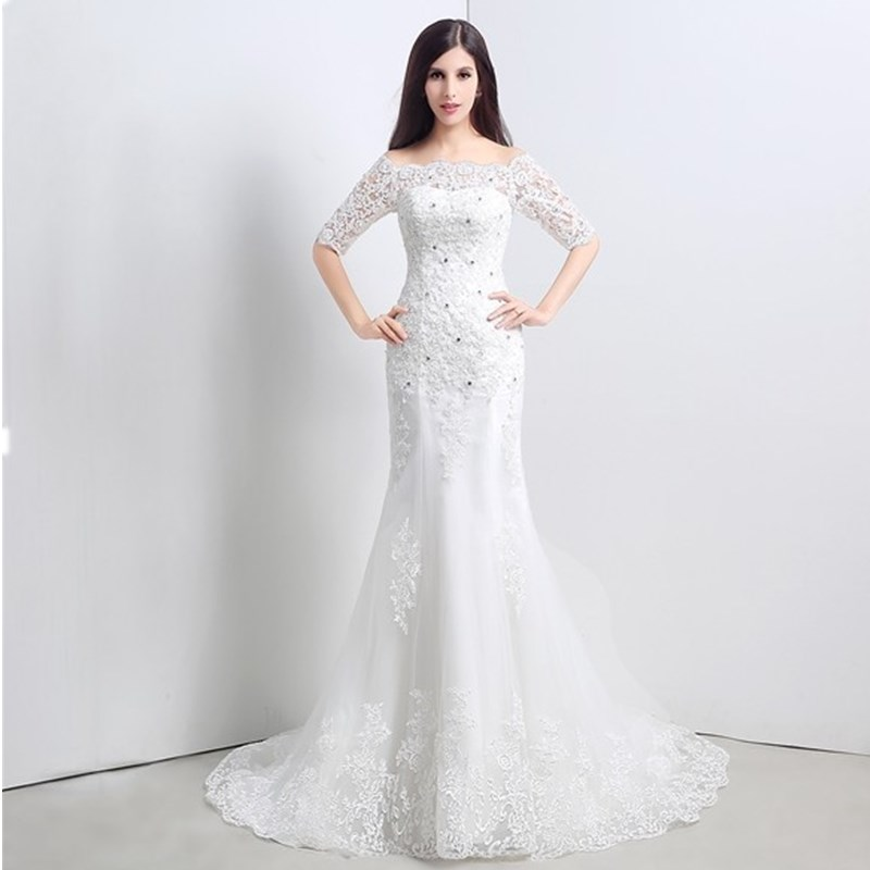 ruthshen Cheap Off The Shoulder Lace Wedding Dresses 2018 Mermaid Appliques  Beaded Sweep Train Bridal Dress Gowns Under 100-in Wedding Dresses from  Weddings ... 24005808fad0