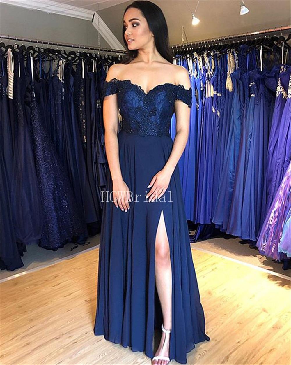 d2a2a113715 Robes Pas Mousseline Soirée Cou Robe Soie Une L épaule Sexy Marine Côté  Élégant Blue Bleu Longue Femmes ...