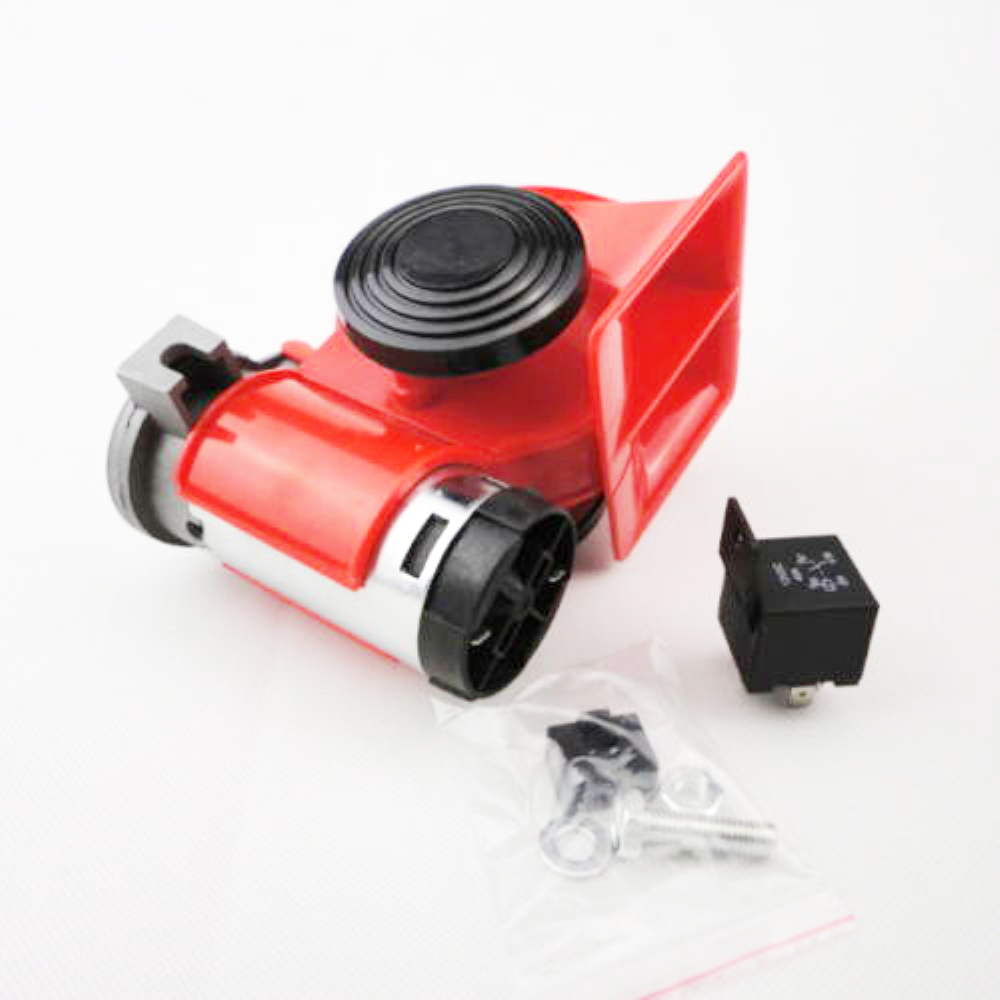 1PC 12V Red Compact Car Snail Dual Tone Electric Pump Siren Loud Air Horn Truck Advanced Alarm Yacht Motorcycle Boat off Road Ve