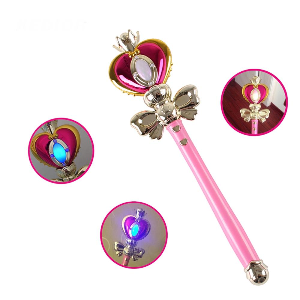 US $15 98 |Anime Cosplay Sailor Moon 20th Tsukino Usagi Wand Henshin Rod  Glow Stick Spiral Heart Moon Rod Musical Magic Wand Girl Toys-in Costume