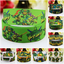 7/8'' (22mm) Teenage Mutant Ninja Turtles Cartoon Character printed Grosgrain Ribbon party decoration satin ribbons OEM 10 Yards 5pcs cute cartoon teenage mutant ninja turtles balloons 18 inch turtles balloon set globo brithday party decorations child toys