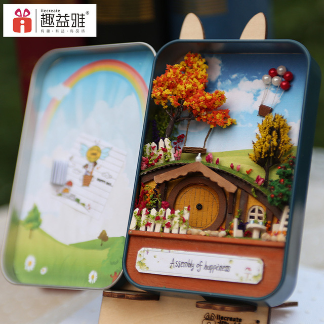 T002 Eisen Box Diy Puppenhaus Miniatur Puppenhaus Möbel Spielzeug