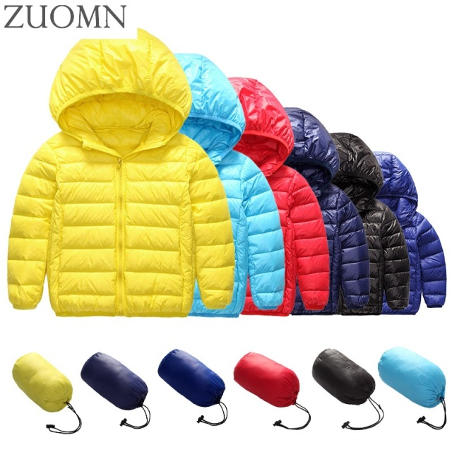 Kids Ultralight Down Jacket Girl Ultralight Down Coat Outdoors Coat Children Winter Clothing Snowsuit UltraLight Jackets YL267