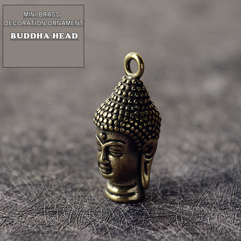 Mini Brass Vintage Buddha Head Statue Portable Keychain Decoration Ornament Sculpture Home Office Desk Ornament Funny Toy Gift