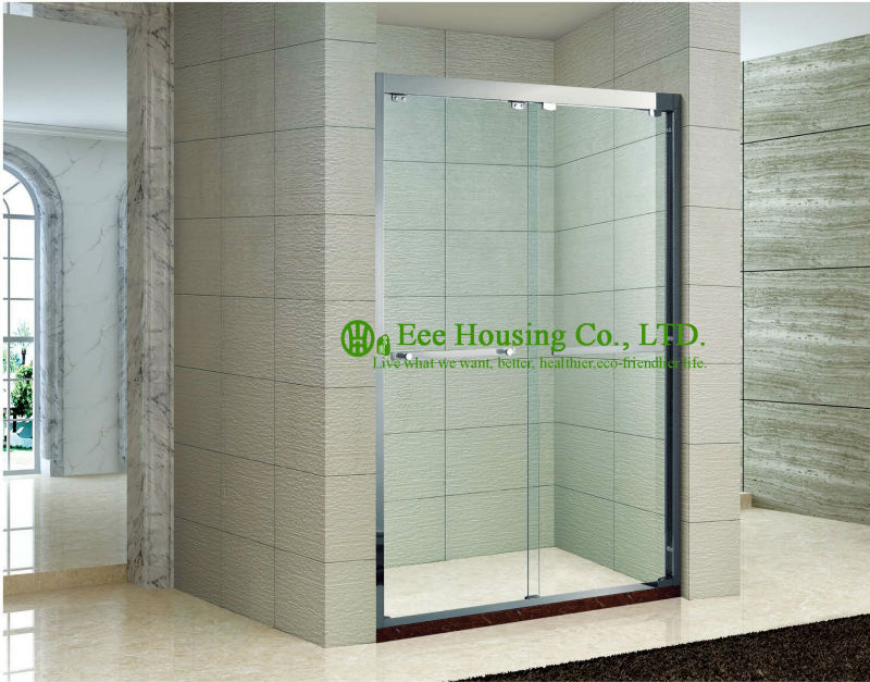 Shower Room In-line Two Sliding Shower Cabin,hanging Rollers Shower Door,Stainless Steel Glass Shower Units Sale