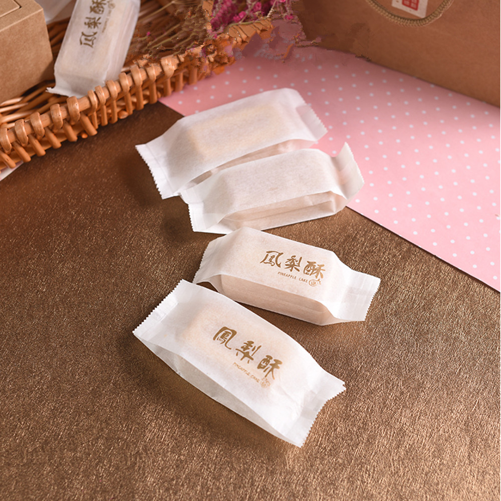 Cotton Paper Bag Pineapple Cake Packaging Wrapper For Cookie Candy, Golden Writing, 100 Pcs