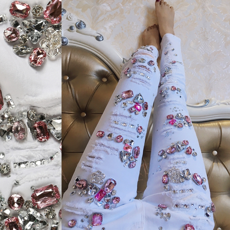 Femenino Blanco Ripped Vaqueros Vintage Slim Lápiz Estiramiento Denim Mujer Pantalones Señoras pEqwA
