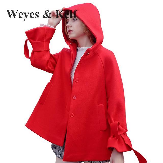 Rode Winterjas.Weyes Kelf Enkele Breasted Boog Hooded Rode Winterjas Vrouwen 2017