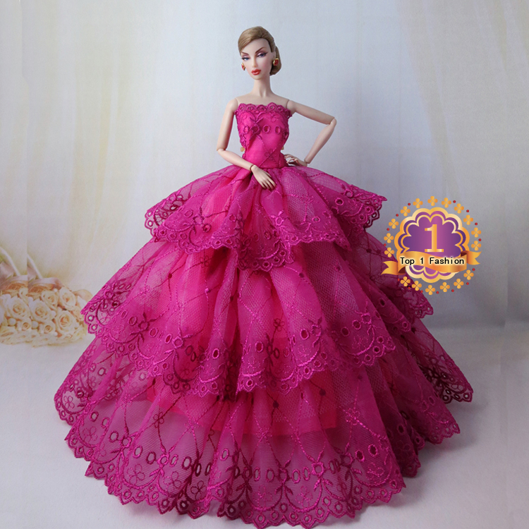 Quality embroidery gown wedding dress for barbie doll for Wedding dresses for barbie dolls