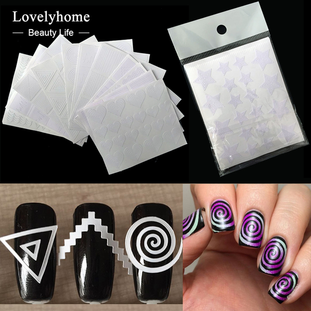 12Pcs Nails Sticker Stencil Tips Guide French Swirls Manicure Nail ...