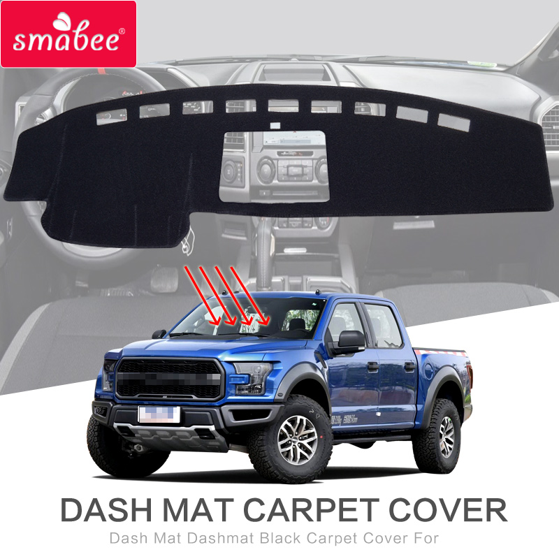 smabee Dash Mat Dashmat Black Carpet Cover For FORD F150 RAPTOR 2015 2018 XLT LARIAT LIMITED PLATINUM BLACK