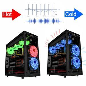 Image 4 - 10 adet/1 adet taşınabilir buzdolabı 12cm Bilgisayar Soğutucu Fan 16dB Ultra Sessiz 15 LEDs PC Oyun Hava Akımı fanlar 2in1 Kablo Soğuk Soğutucu
