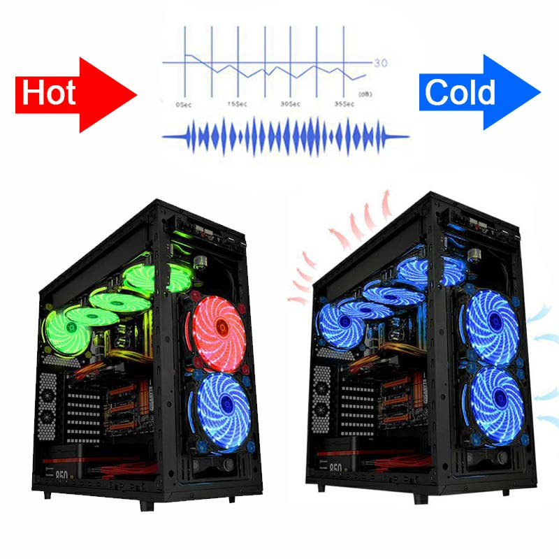 Image 4 - 10pcs/1pcs portable fridge 12cm Computer Cooler Fan 16dB Ultra Silent 15 LEDs PC Game Airflow Fans with 2in1 Cable Cool Heatsink-in Fans & Cooling from Computer & Office