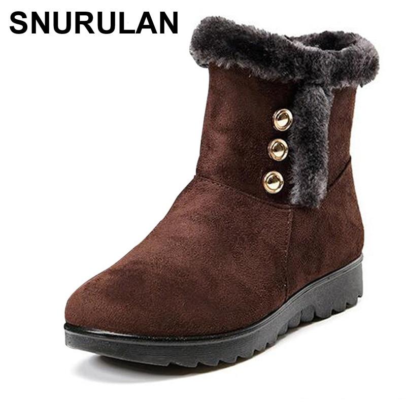 Étanche Bottes Snurulan forme Mode Chaussures Chaud D'hiver marron Plate Femme Femmes De Cheville Nouvelle rouge Noir E013 Pour Wedge Neige rXnXwFEq8