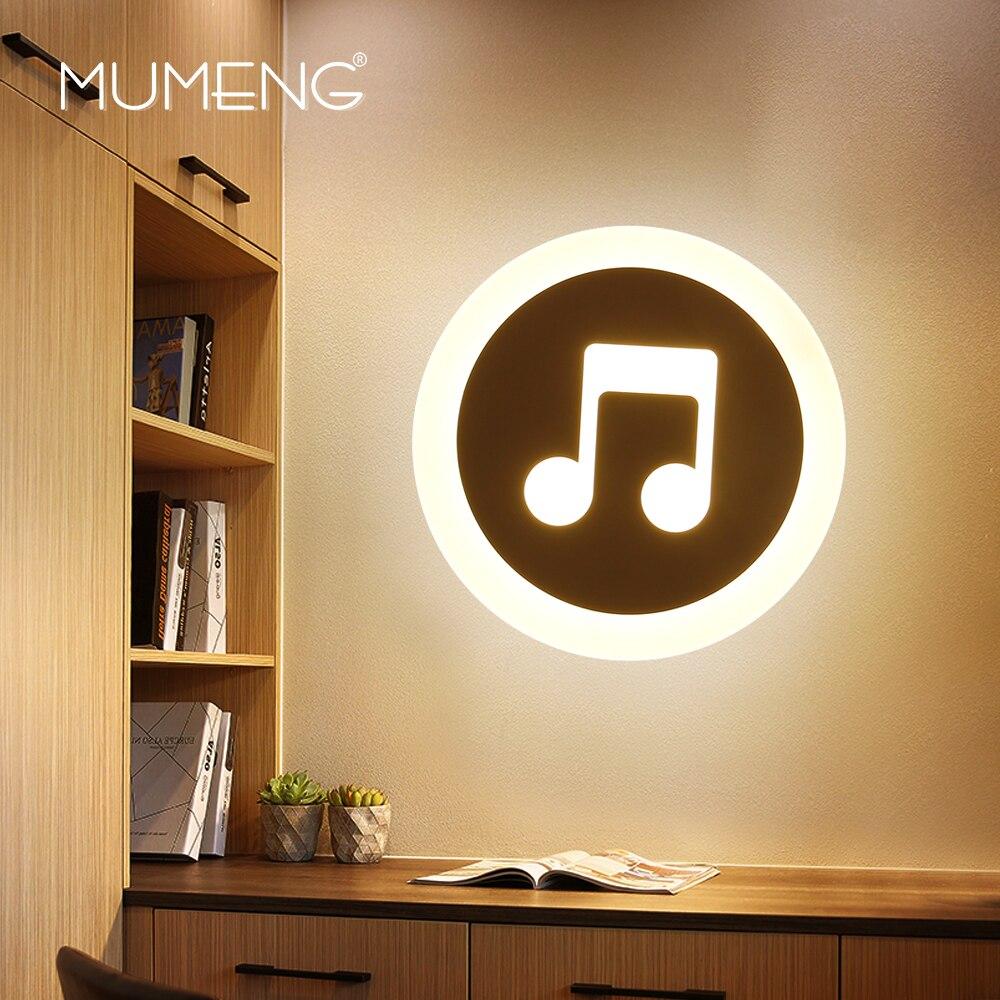 MUMENG nouveauté LED au design moderne lampe murale musique forme 15W 220V intérieur chambre salon maison luminaires décoratifs éclairage