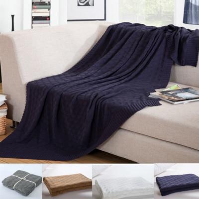 120x180 cm coperta del bambino maglia di cotone, blu Zaffiro colore lavorato a maglia foglio di biancheria da letto, 100% Cotone Quadrato Design bambini full size coperta
