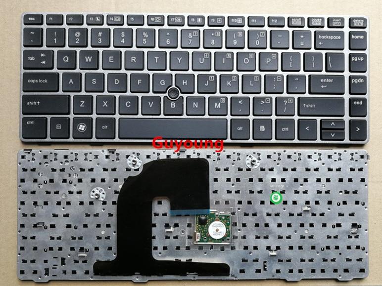 US Keyboard For HP EliteBook 8470B 8470P 8470 8460 8460p 8460w ProBook 6460 6460b 6470 Keyboard with silver frame Keyboards     - title=