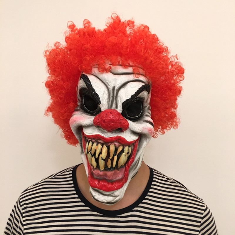 horror clown evil overhead latex costume mask halloween party scary clown mask with red hair costume