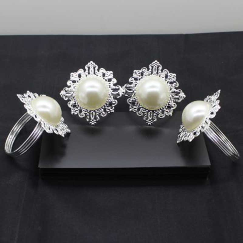 6pcs luxury rhinestone napkin rings pearl napkin rings for for 7p decoration