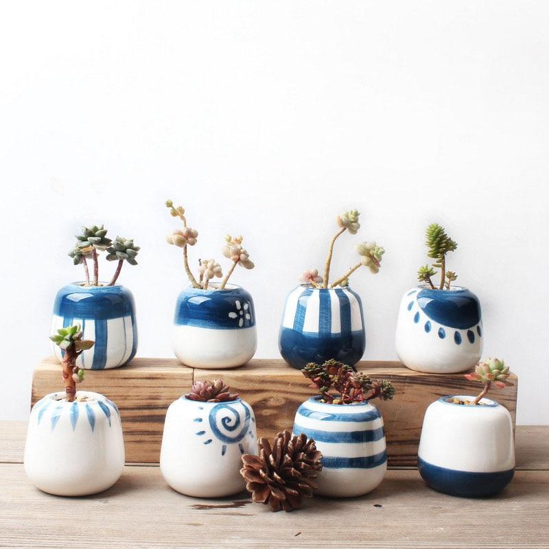 Ceramic Chinese Bonsai Flower Plant Pot Min Flowerpot Container Dark Blue Glazed