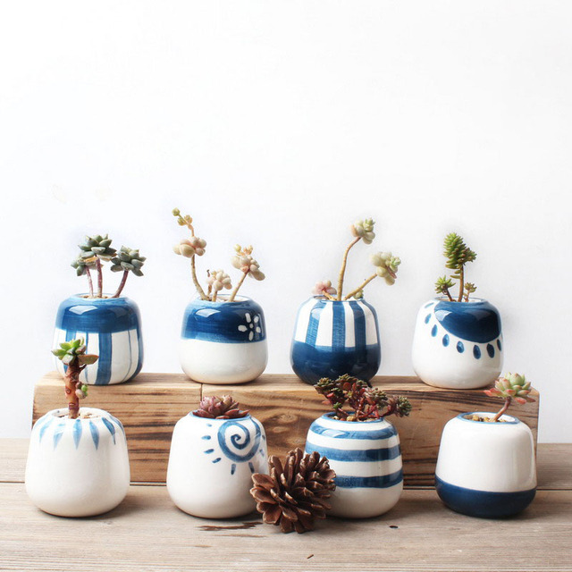 Set Of 8 Original Design Mini Ceramic Succulent Plant Pot Handmade