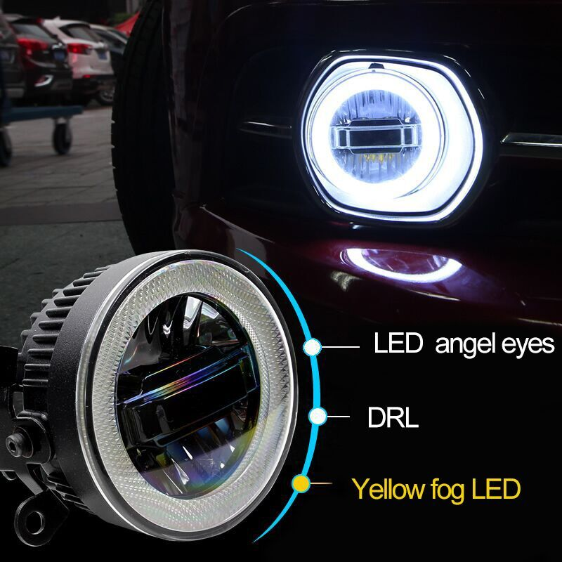 luckeasy 3in1 Highlight Angel Eyes + LED Daytime Running Light + LED Fog Lamp For Subaru Forester 2013 - 2016 drl
