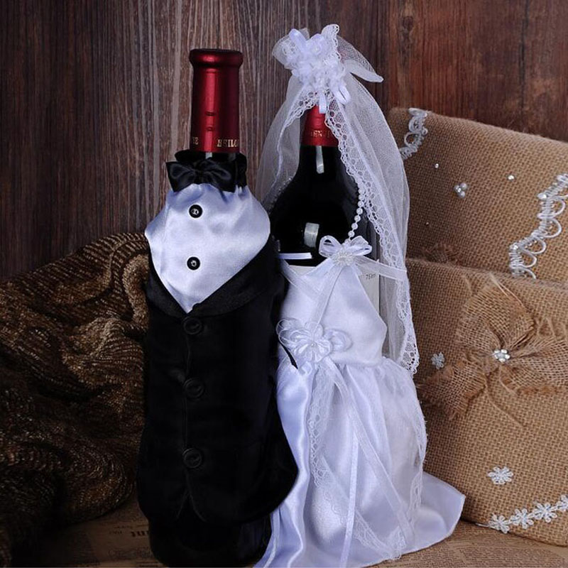New Style Wedding Decorations Bride And Groom Dress Wine Glass