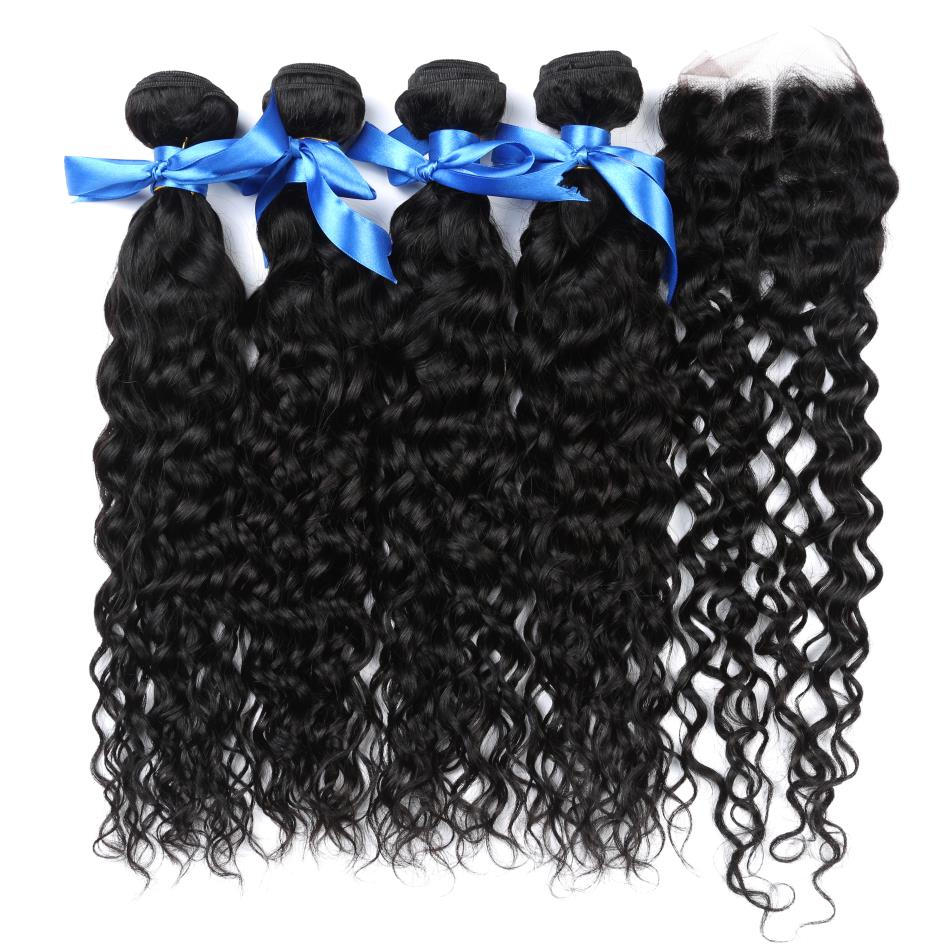 Alisky Malaysian Water Wave Hair 4 Bundles With Closure 100% Human Hair Closure Hand Tied Remy Hair Middle/Free/Three Part
