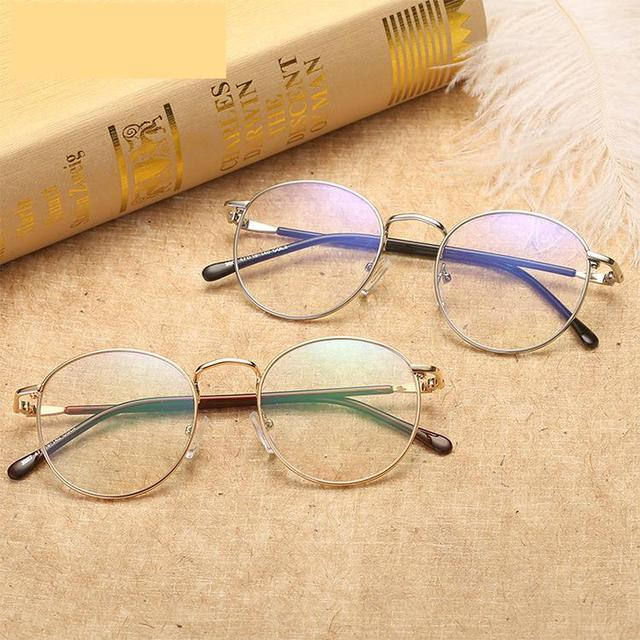 df9f384ef6 2018 new round men thin edges metal eyeglass frame Europe and America  street style