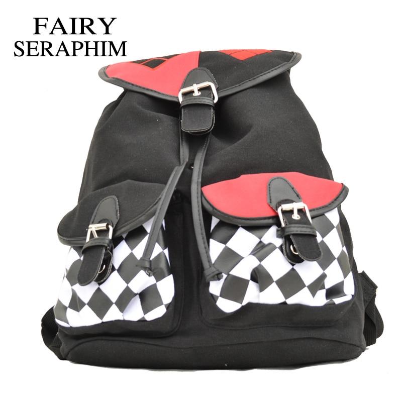 FAIRY SERAPHIM Suicide Squad Harley Quinn Backpack Flap Cover teenagers School Bag joker cartoon style children