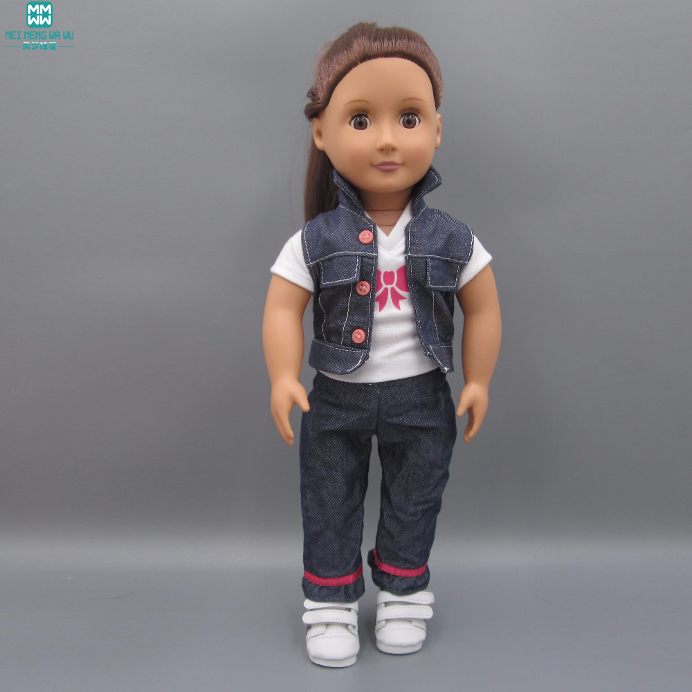 Clothes for dolls fits 45 cm American Girl doll accessories White T-shirt denim vest denim trousers white denim white denim stiff lp cd