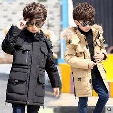 -40 degree children's winter jackets cotton-padded fur fashion teenage boy big boys warm winter down coat thickening outerwear