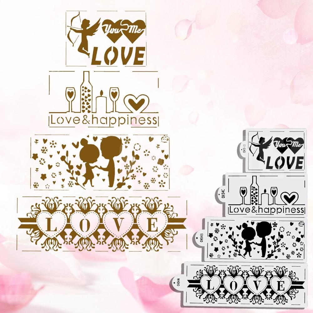 €115.115 15% de réductionPochoir de décoration de mariage 115 pièces/ensemble   Accessoires de cuisine, bordure de gâteau, pochoir de gâteau, pochoir
