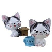 Творческий смолы кошка денежный ящик смолы фигурки смолы подарки ручной работы украшение дома моды сохранение горшок миниатюры