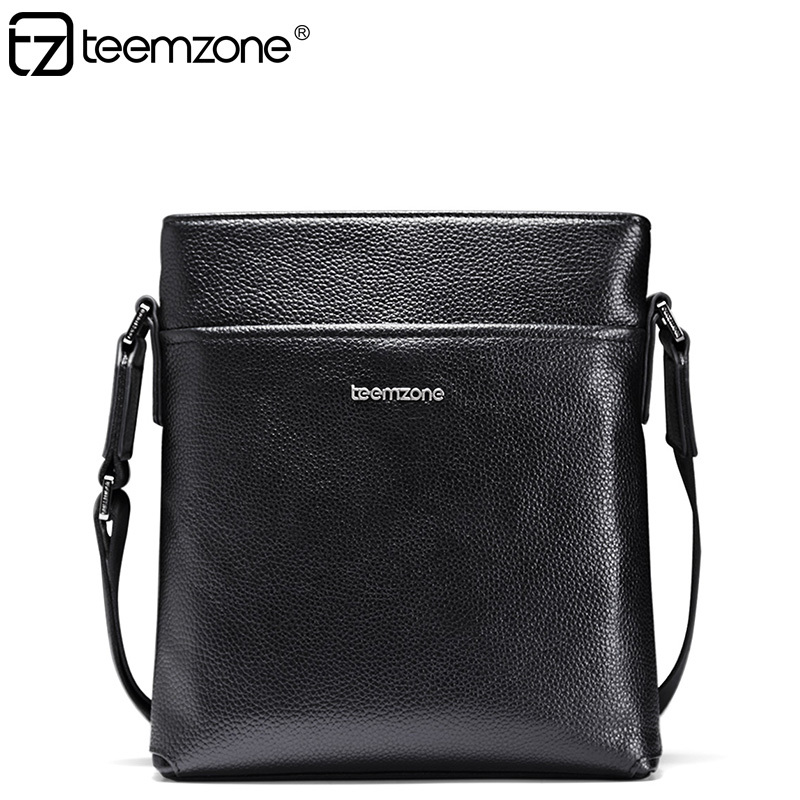 teemzone Fashion European style Business Mens Bag  Genuine Leather Casual Messenger Shoulder Satchel Travel Bag Tablet Bag T0985 цена и фото