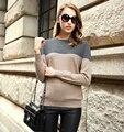 Mulheres Crewneck manga comprida contraste cor Cashmere de lã blusas de malha Pullovers quente quente de Feme