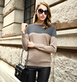 Women's Long Sleeve Crewneck Contrast Color Cashmere Wool Sweaters Ladies Knitted Warm Pullovers Warm Casual Jumpers Pull Feme