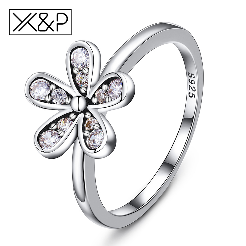 X&P Fashion Elegant 925 Silver Dazzling Daisy Flower Finger Rings for Women Girl Clear W ...