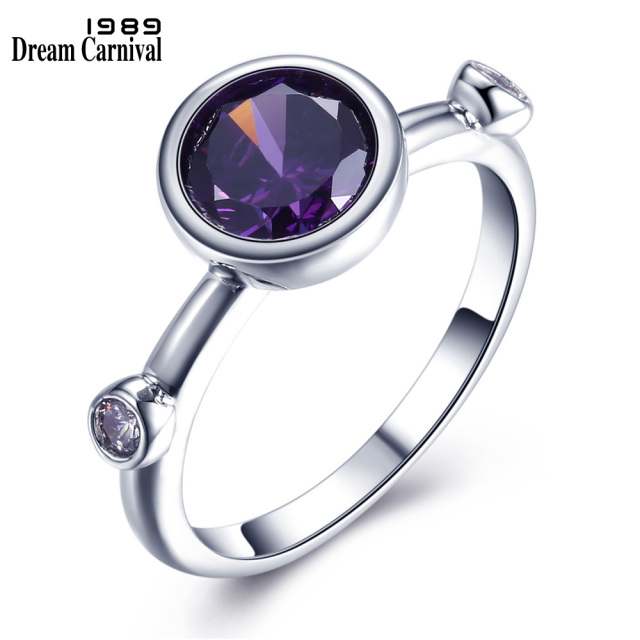 DreamCarnival 1989 Purple Blue Solitaire Ring for Women Wedding Rhodium Fashion