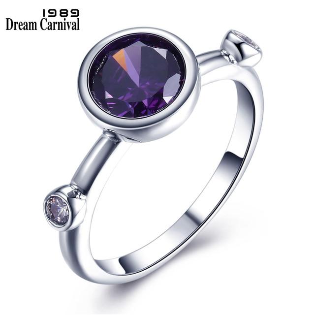 DreamCarnival 1989 Purple Blue Solitaire Ring for Women Wedding Rhodium Fashion